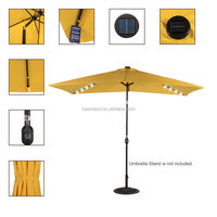 Rectangular Solar Powered 22 LED Lighted Outdoor Patio Umbrella with Crank and Tilt, Aluminum, 10 by 6.5-Feet
