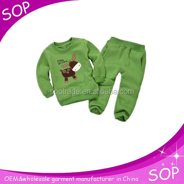 High quality long sleeve fleece sets childrens boutique winter clothing sets for baby boy
