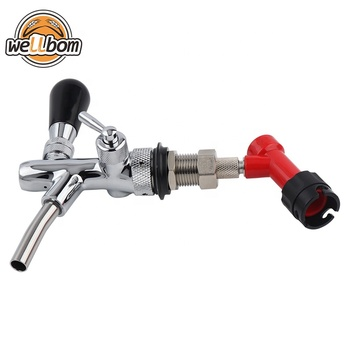 Adjustable Draft Beer Faucet Shank Flow Control Chrome Plating Beer Tap with Pin Lock for Homebrew Tap