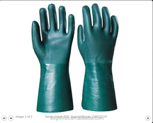 PVC gloves with double dipped,sandy finish, 35cm,resistant oil,acid,alkali,industrial,abrasion resistant