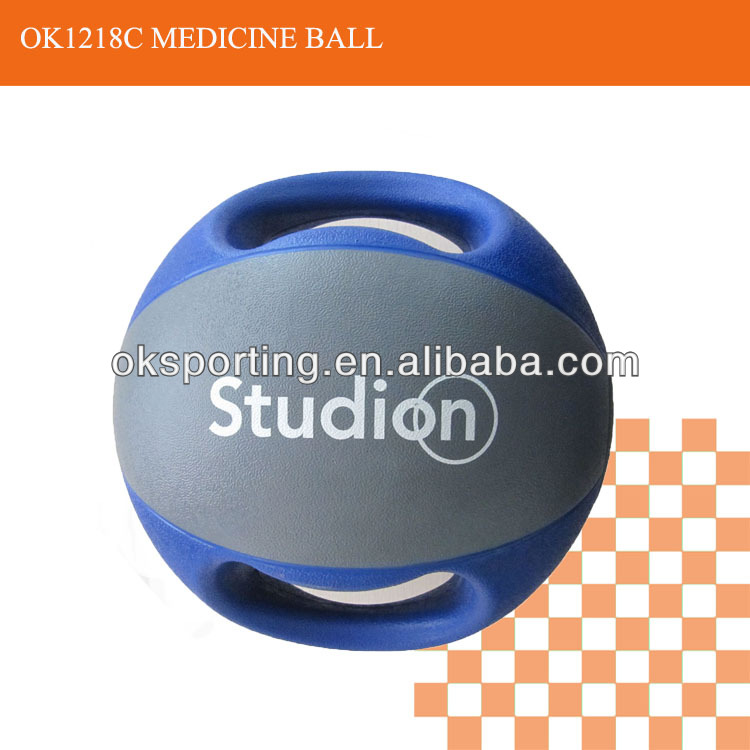 High Quality Double Color and Handles Fitness Training Medicine Ball
