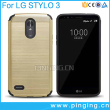 For LG stylo 3 case brushed armor hard 2 in 1 cover for lg stylo 3/stylus 3
