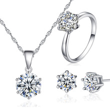 2017 Hot selling White Gold Plated Jewelry Three-Piece Suit With Cubic Zircon Earring Ring And Necklace