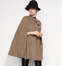 Elegant women wool coat jaket cape for winter