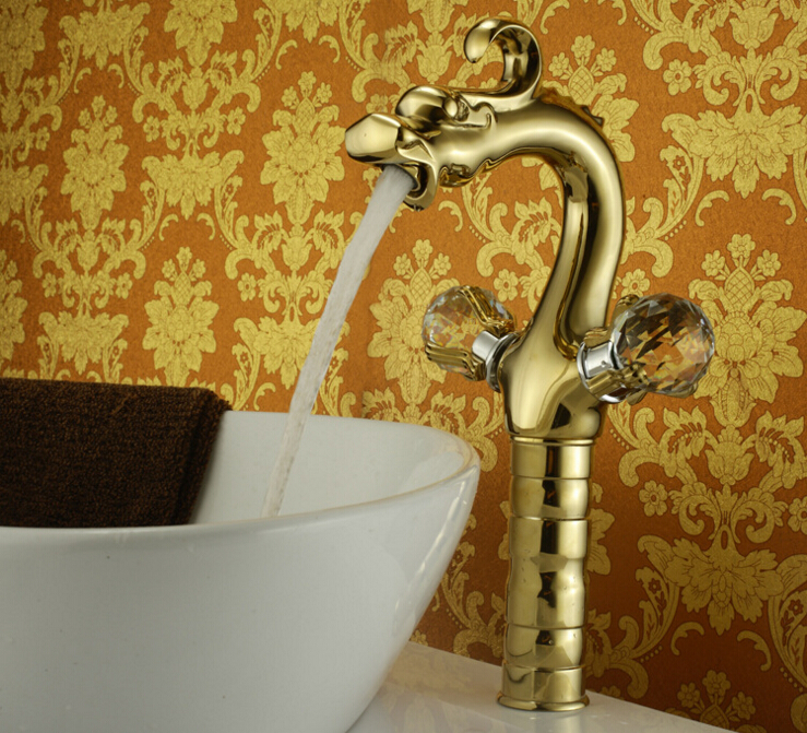 Brass golden dragon head basin faucet