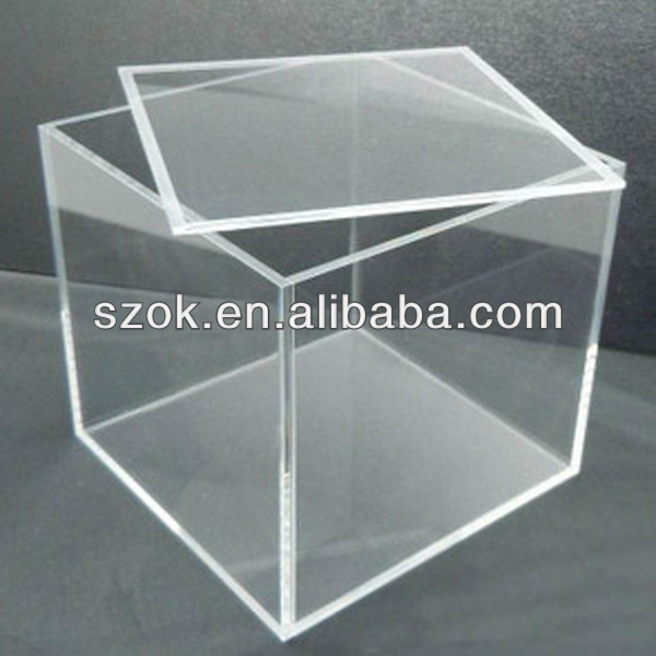 China acrylic clear cube <strong>retail</strong> display box with lid