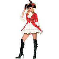 Sexy matador Pirate captain cosplay Costume Red Pirate Costume women adult party halloween costumes for women with hat OEM
