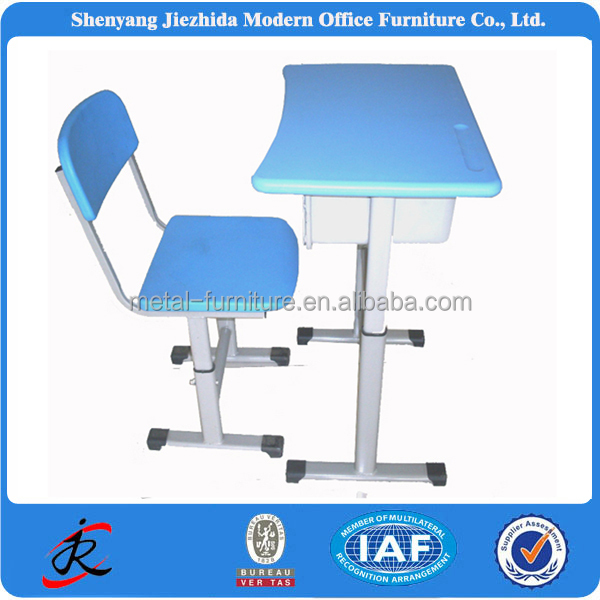 China colorful school kids university college steel PVC cheap steel plastic adjustable student desk and chair