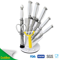Hot sale 9pcs stainless steel knife set kitchen knife set with acrylic knife holder
