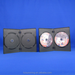 Factory Price 14mm Double DVD PP Case with outer clear plastic sleeve (Black)