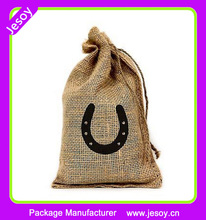 JESOY Hot Selling Cheap Personalized Custom Jute Burlap Gift Bags With Drawstring