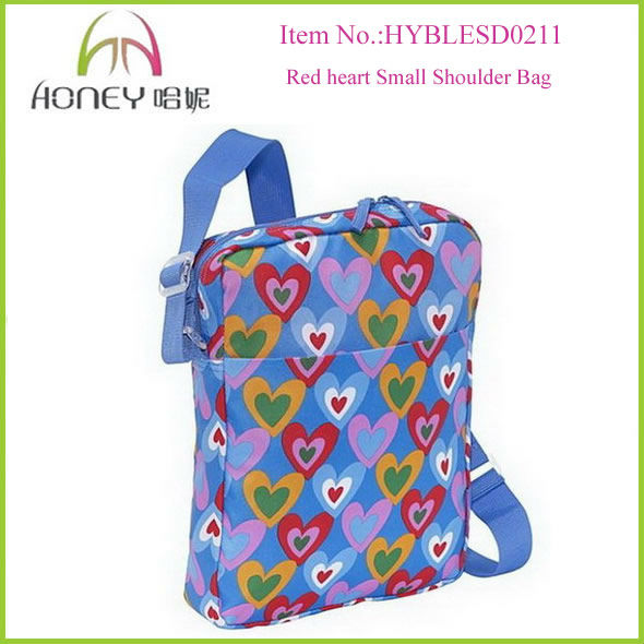 Red Heart Polyester Shoulder Bag Cross Body side bags for school