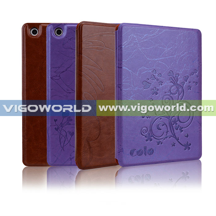 Embossed Flower Leather Folio Stand Case Cover with Automatic Sleep/Wake Feature For New Apple iPad Mini