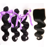 Malaysian Body Wave Virgin Hair Bundles with Lace Closure 4Pcs Lot Cheap Malaysian Hair Closure Bleached Knots Color 1b