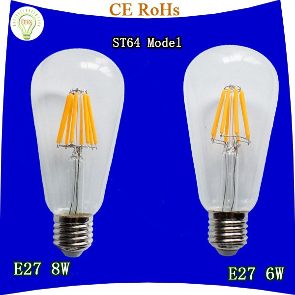 Raw amber material glass ST64 model 8w e26 led filament bulb from China