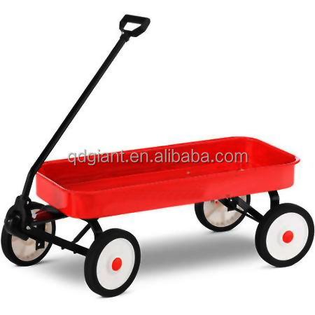 Flat bed steel material tray four wheels children kids wagon cart