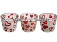 Valentine's day style sand blasting glass candle holder