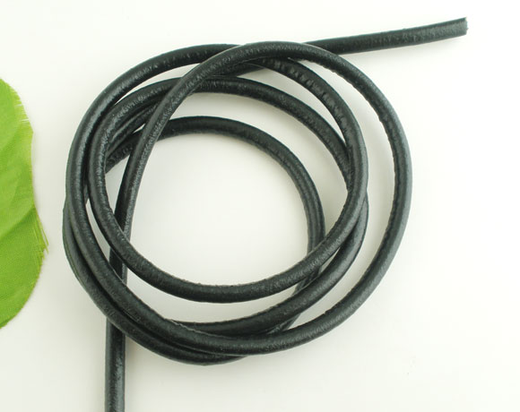 Bulk Black 5mm 5M Length Round Real Leather Jewelry Cord