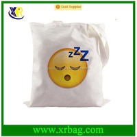Sleep Face Emoji Foldable Reusable Grocery Shopping 10oz Cotton Canvas Tote Bag