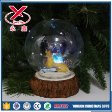 LED clear Christmas glass ball with base christmas resin in it home decoration