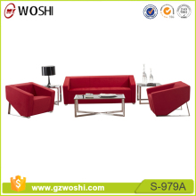 Modern red leather office sofa, fabric office sofa, classic office sofa set S979A