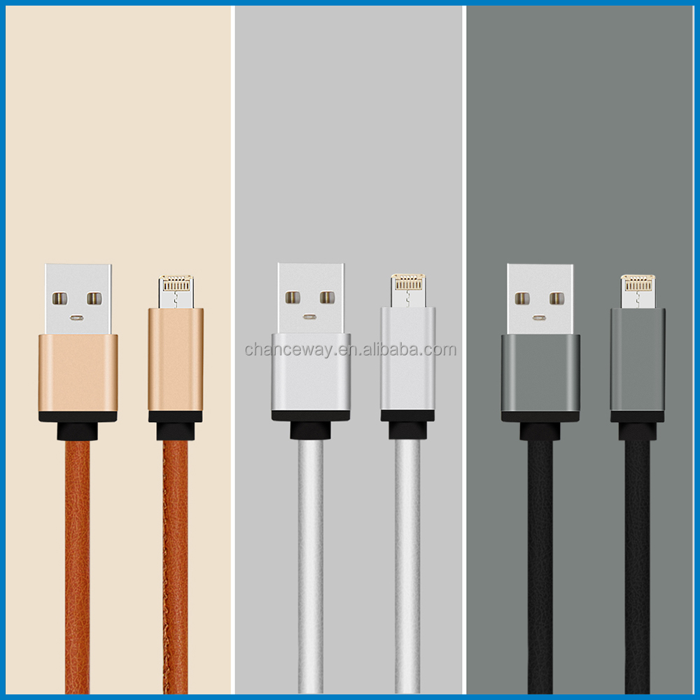 2016 hot sale multi-purpose usb cable 2in1 leather and jeans material LM usb cable one head for iPhone&android