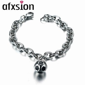 AFXSION sports jewelry bracelet wholesale men's 13mm enamel stainless steel football bracelet for 2018 Russia Football World Cup