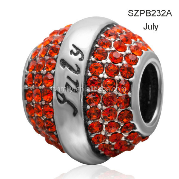 12 Colors CZ Zircon Micro Pave Drum Shape Authentic 925 Sterling Silver European Charm Beads Birthstone Beads SZPB232