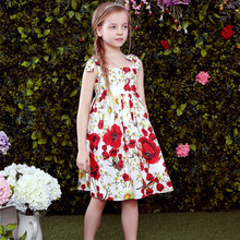 Lovely girl nice flower print bow tutu style spaghetti straps kids dresses