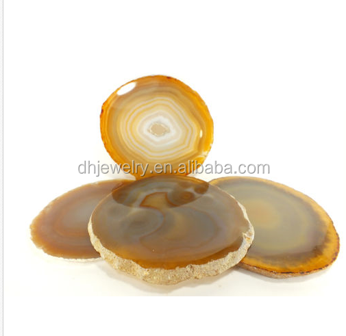 Agate Gemstone Polished Crystal Slice Coaster 4 Set Brazil healing decor
