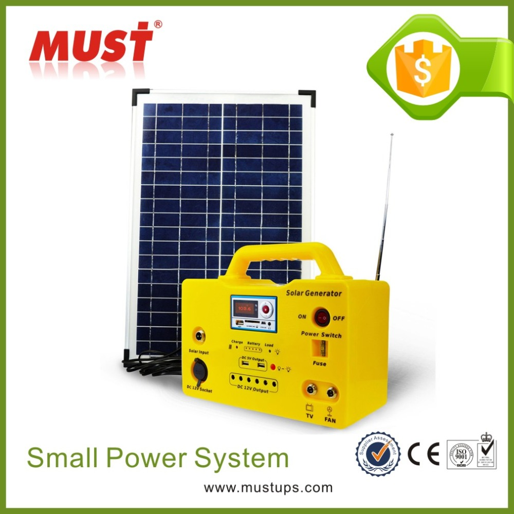 MUST 20W solar lighting system/20W portable mini solar home lighting kit with mobile charger