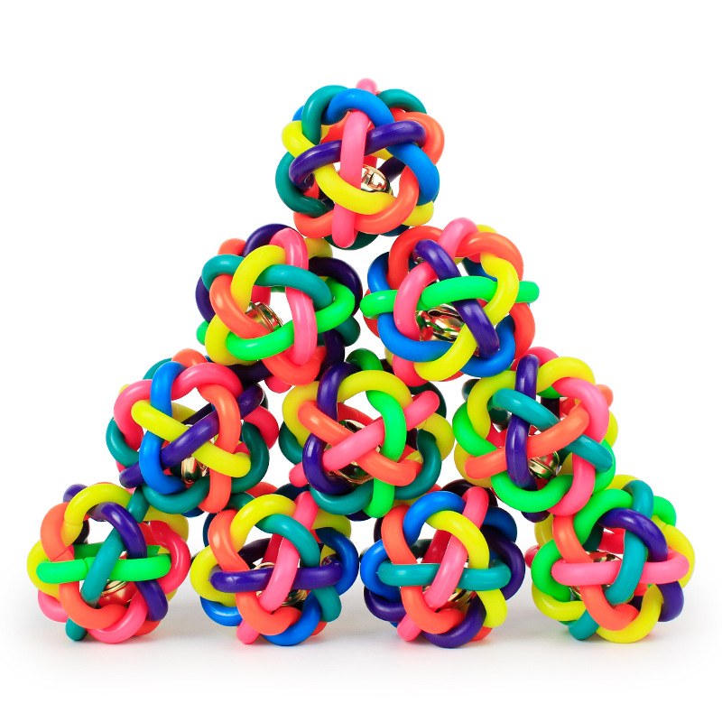 Puppy Dog Training Toys Pet Chew Toys Dog Colorful Bouncy Rubber Balls with Bell