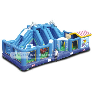 Commercial Inflatable Games all-in-one sports arena with inflatable slide