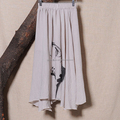Fashion China style printing summer girl linen long skirt