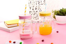 Drinking Glass Mason Jar with handle and color metal lid