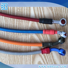 SAEJ1401 PTFE motorcycle racing brake line hose assembly with banjo fitting 0 degree 28degree 90degree