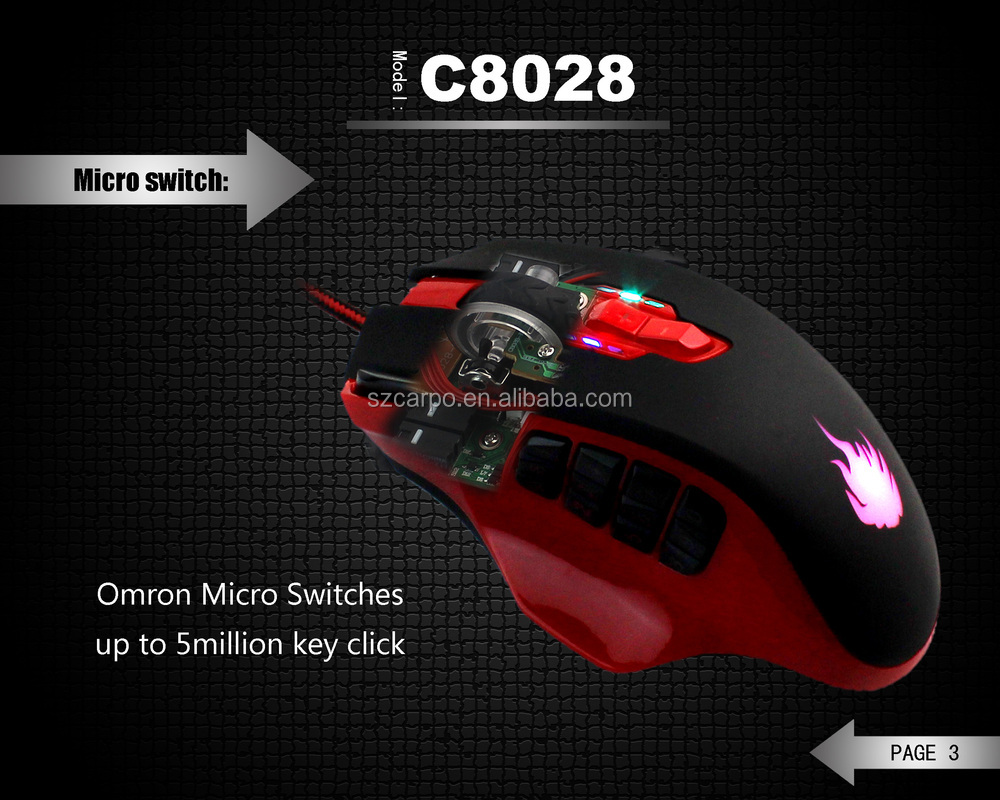 Factory patent professiona usb gaming mouse 12 side buttons,16400DPI any colors custome C-8028