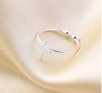 SCI118 new design cross adjustable silver rings