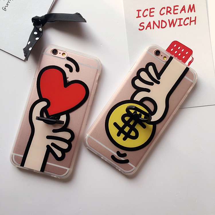 Cartoon Cute Give Love Heart Dollar Money Painted Phone Case For iPhone 7 7Plus 6 6s Plus Hard PC Cover With Ring