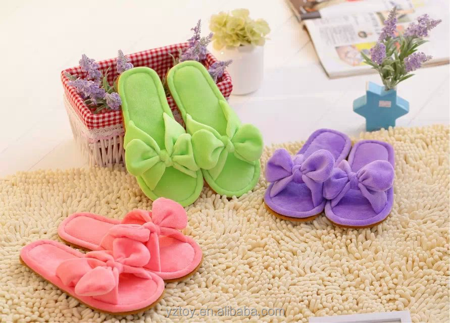Spring and autumn big butterfly knot Plush home slippers fish mouth dew toe sweet slippers