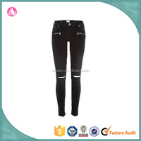 quality 2016 ladies sexy black ripped knee skinny jean hot pants