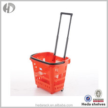 Wholesale durable plastic rolling shopping basket