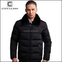 Top Selling Fashion Man Black Short Down Coats New Design Casual Stand Rabbit Collar Thick Winter Coat For Men