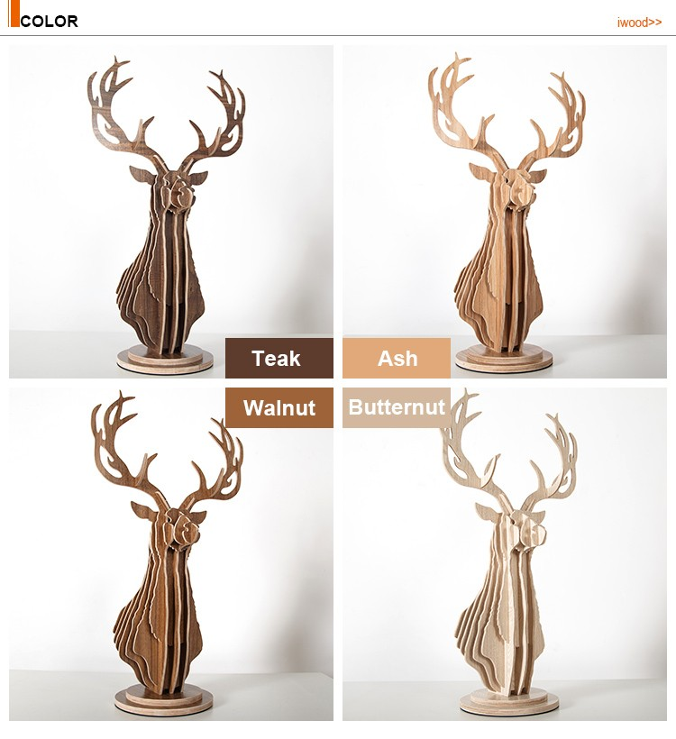 Art minds wood crafts elegant deer head table decor for Christmas ornaments 2016