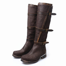 Manufacture For Cool Girl Knight Boots Crack Mixed Color Full Cow Leather Flat Neutral Knee Boots Large Size 35-41