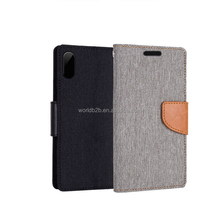 2 tone jeans leather wallet design booklet case for iPhone X