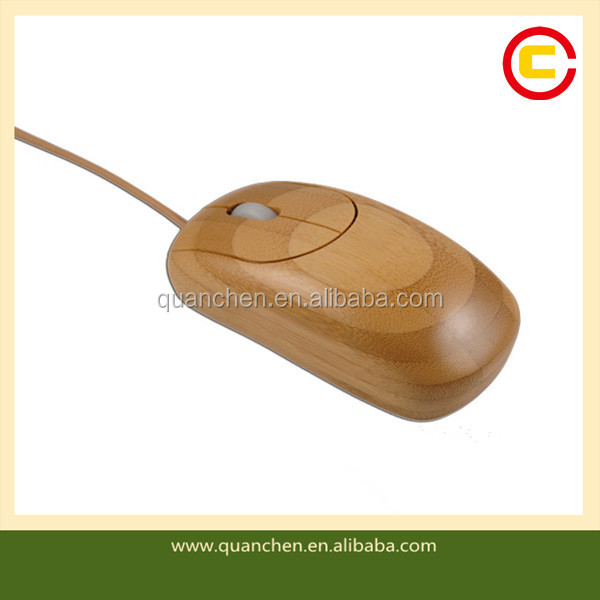 Custom Made Bamboo Computer Wired Mouse