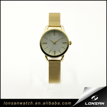 Gold Mesh Band Simple Face Fashion Watch
