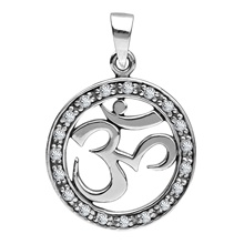 Customized Newest Women cubic zircon religious sterling silver om pendant