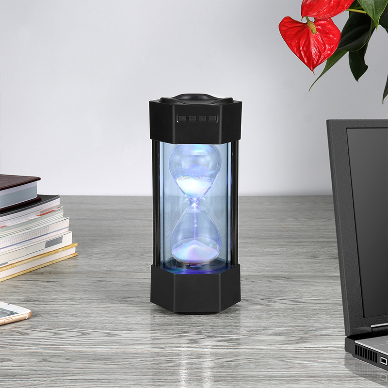 New Best Hourglass Led Light Bluetooth Speaker 3W Super Bass Rechargeable Mp3 Speaker With Bluetooth TF USB FM AUX Port Remote B